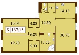 3-комнатная квартира на продажу (132,2 м<sup>2</sup>)