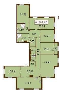 6-комнатная квартира на продажу (244,2 м<sup>2</sup>)