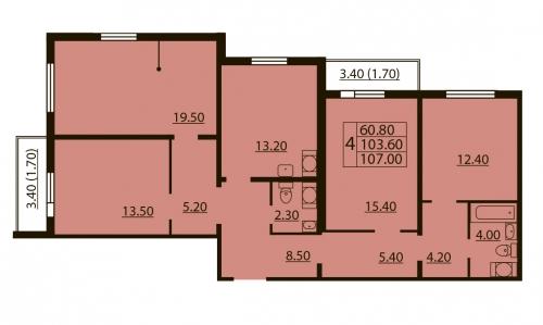 4-комнатная квартира на продажу (107,0 м<sup>2</sup>)