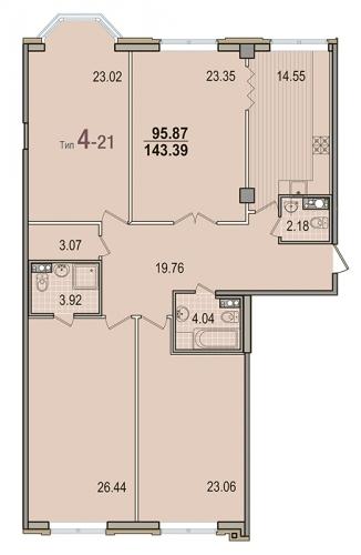 4-комнатная квартира на продажу (143,4 м<sup>2</sup>)