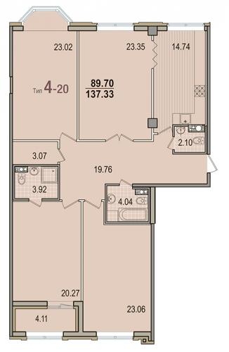 4-комнатная квартира на продажу (137,3 м<sup>2</sup>)