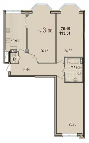 3-комнатная квартира на продажу (113,5 м<sup>2</sup>)