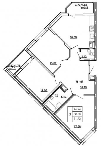 3-комнатная квартира на продажу (93,4 м<sup>2</sup>)