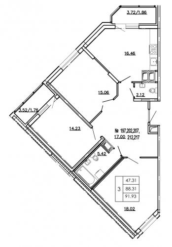 3-комнатная квартира на продажу (93,7 м<sup>2</sup>)