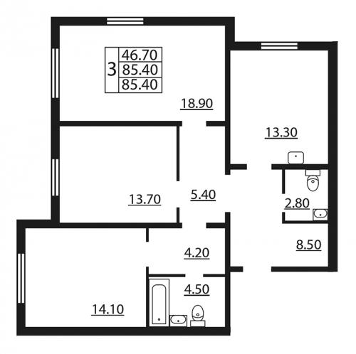 3-комнатная квартира на продажу (85,4 м<sup>2</sup>)