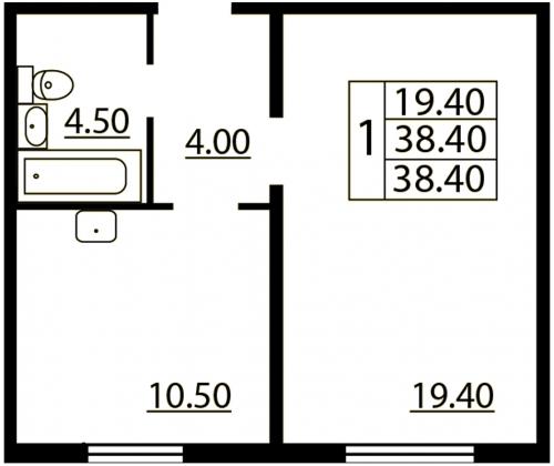 1-комнатная квартира на продажу (38,4 м<sup>2</sup>)