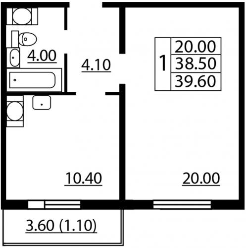 1-комнатная квартира на продажу (39,6 м<sup>2</sup>)