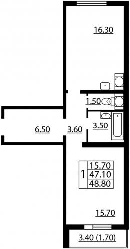 1-комнатная квартира на продажу (48,8 м<sup>2</sup>)