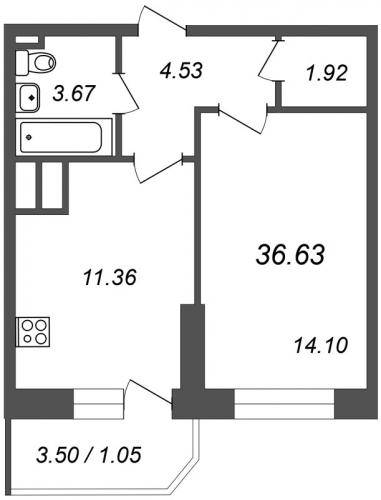 1-комнатная квартира на продажу (36,6 м<sup>2</sup>)
