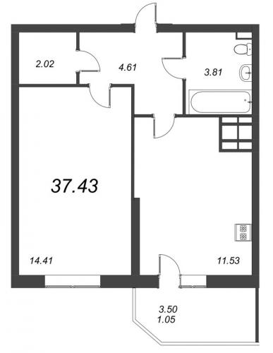 1-комнатная квартира на продажу (37,4 м<sup>2</sup>)