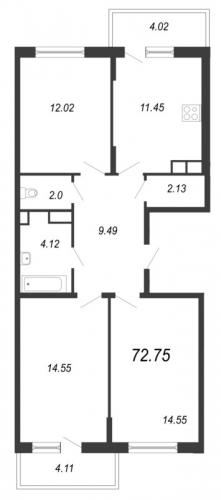 3-комнатная квартира на продажу (72,8 м<sup>2</sup>)