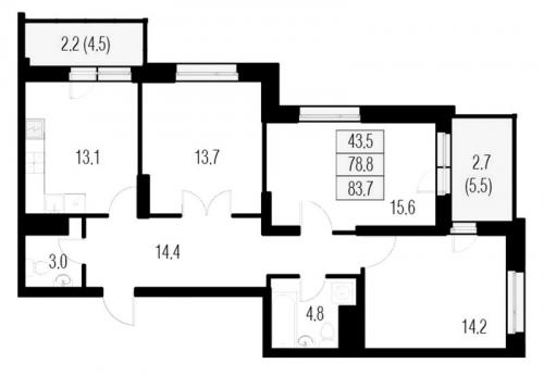 3-комнатная квартира на продажу (83,7 м<sup>2</sup>)