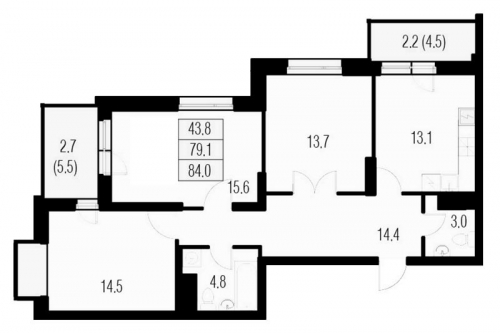 3-комнатная квартира на продажу (84,0 м<sup>2</sup>)