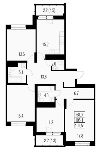 4-комнатная квартира на продажу (109,5 м<sup>2</sup>)