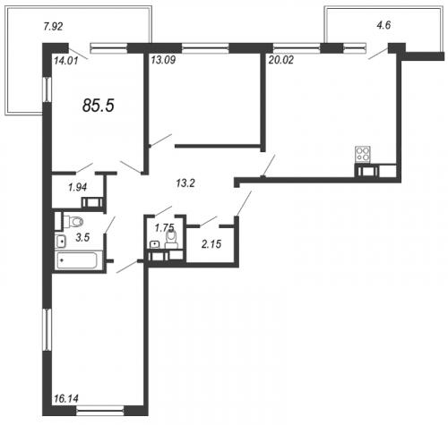 4-комнатная квартира на продажу (85,5 м<sup>2</sup>)