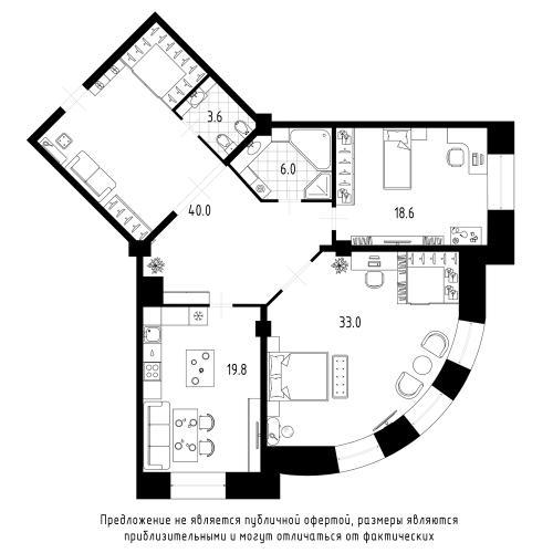 2-комнатная квартира на продажу (121,0 м<sup>2</sup>)