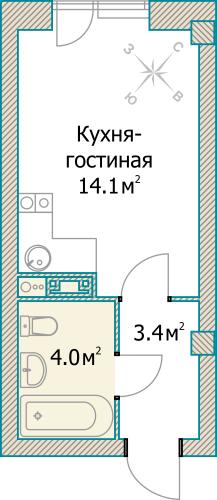 1-комнатная квартира на продажу (21,5 м<sup>2</sup>)