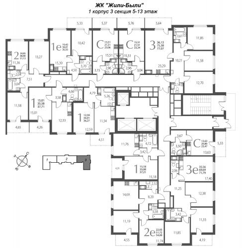 1-комнатная квартира на продажу (37,2 м<sup>2</sup>)