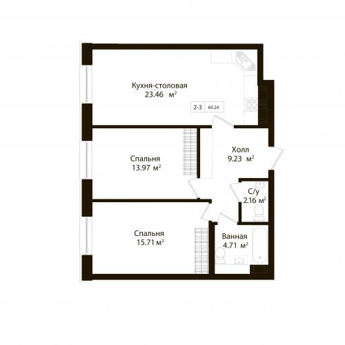 2-комнатная квартира на продажу (69,2 м<sup>2</sup>)