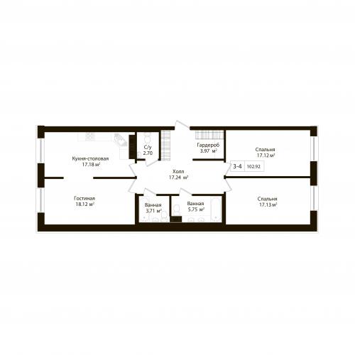 3-комнатная квартира на продажу (102,9 м<sup>2</sup>)