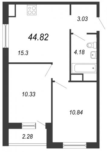 3-комнатная квартира на продажу (44,8 м<sup>2</sup>)