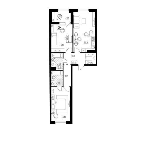 3-комнатная квартира на продажу (76,8 м<sup>2</sup>)