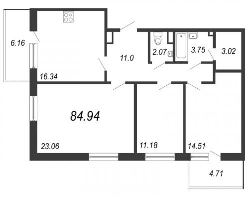3-комнатная квартира на продажу (84,9 м<sup>2</sup>)