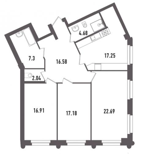 3-комнатная квартира на продажу (104,6 м<sup>2</sup>)
