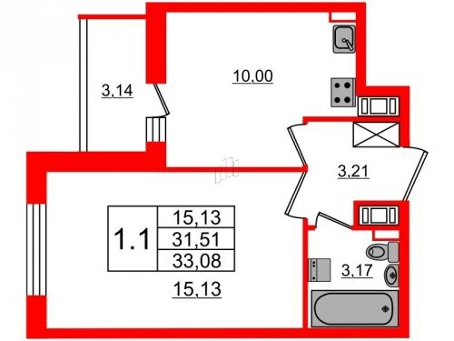1-комнатная квартира на продажу (31,5 м<sup>2</sup>)