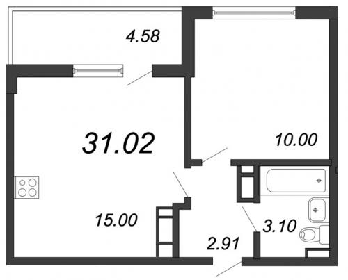 2-комнатная квартира на продажу (31,0 м<sup>2</sup>)