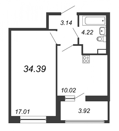 1-комнатная квартира на продажу (34,4 м<sup>2</sup>)