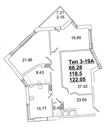 3-комнатная квартира на продажу (115,7 м<sup>2</sup>)