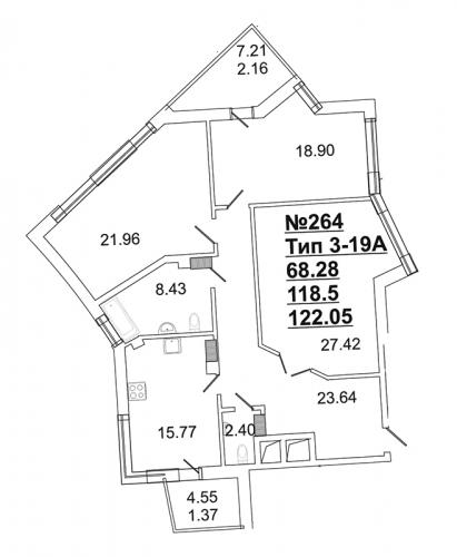 3-комнатная квартира на продажу (117,6 м<sup>2</sup>)