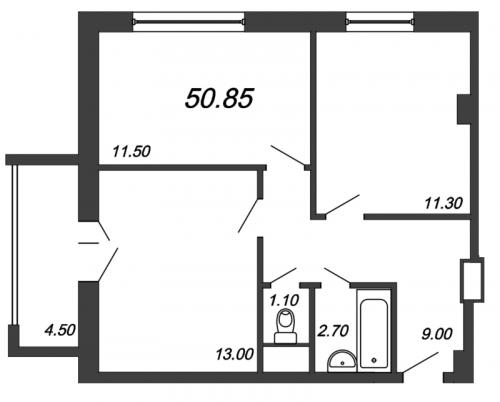 2-комнатная квартира на продажу (50,9 м<sup>2</sup>)