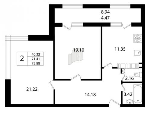 2-комнатная квартира на продажу (71,4 м<sup>2</sup>)