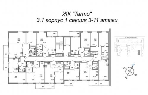 1-комнатная квартира на продажу (29,2 м<sup>2</sup>)