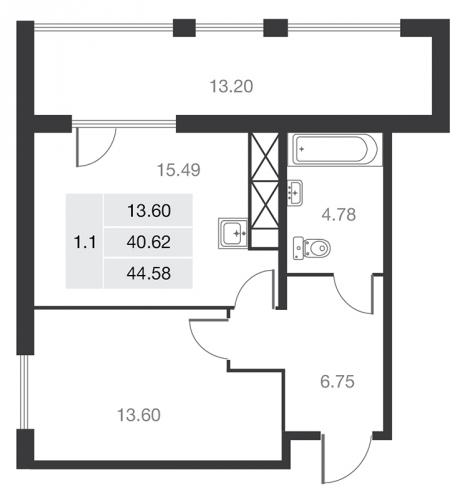 1-комнатная квартира на продажу (44,7 м<sup>2</sup>)