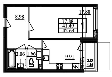 1-комнатная квартира на продажу (42,4 м<sup>2</sup>)