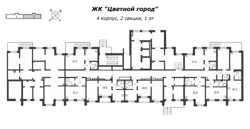 3-комнатная квартира на продажу (50,2 м<sup>2</sup>)