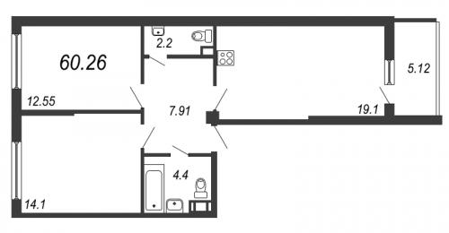 3-комнатная квартира на продажу (60,3 м<sup>2</sup>)