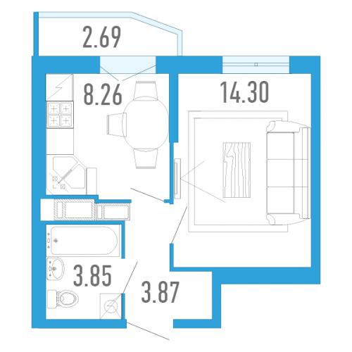 1-комнатная квартира на продажу (31,0 м<sup>2</sup>)