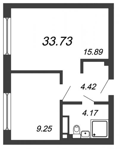 2-комнатная квартира на продажу (33,7 м<sup>2</sup>)