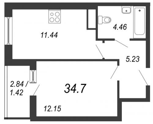 1-комнатная квартира на продажу (34,7 м<sup>2</sup>)