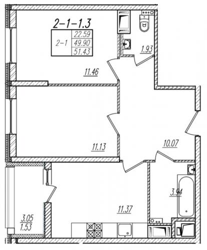2-комнатная квартира на продажу (51,4 м<sup>2</sup>)