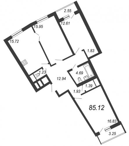 3-комнатная квартира на продажу (85,1 м<sup>2</sup>)