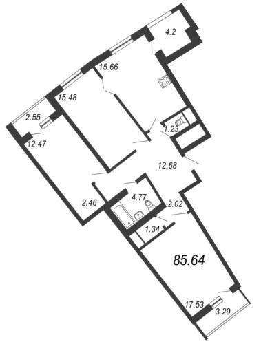 3-комнатная квартира на продажу (85,6 м<sup>2</sup>)