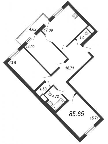 4-комнатная квартира на продажу (85,7 м<sup>2</sup>)