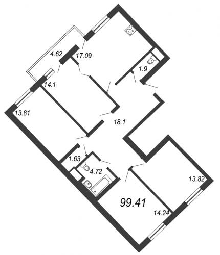 5-комнатная квартира на продажу (99,4 м<sup>2</sup>)
