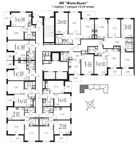 2-комнатная квартира на продажу (34,1 м<sup>2</sup>)