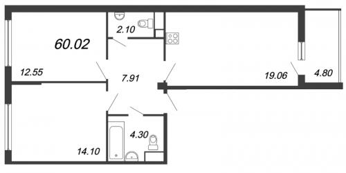 3-комнатная квартира на продажу (60,0 м<sup>2</sup>)